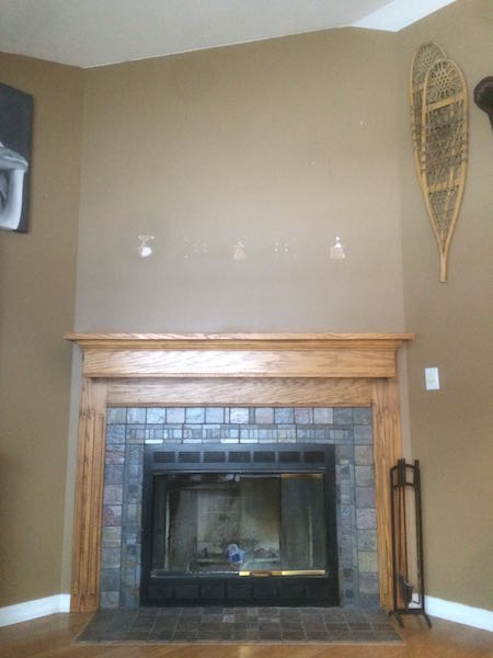 Fireplace before reclaimed wood