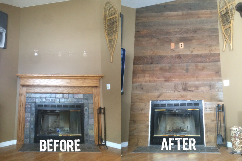 Recalimed Wood Fireplace Before After